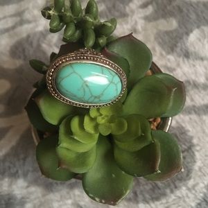 Big chunky turquoise oval ring women's jewelry